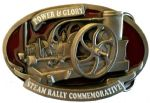 Steam Engine Rally Stationary Belt Buckle with display stand. Code TM8